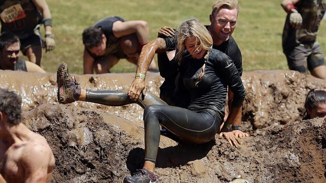 Ronan Keating and girlfriend Storm Uechtritz compete in the Tough Mudder competition at Eastern Creek. Picture: Sam Ruttyn Source: News Limited
